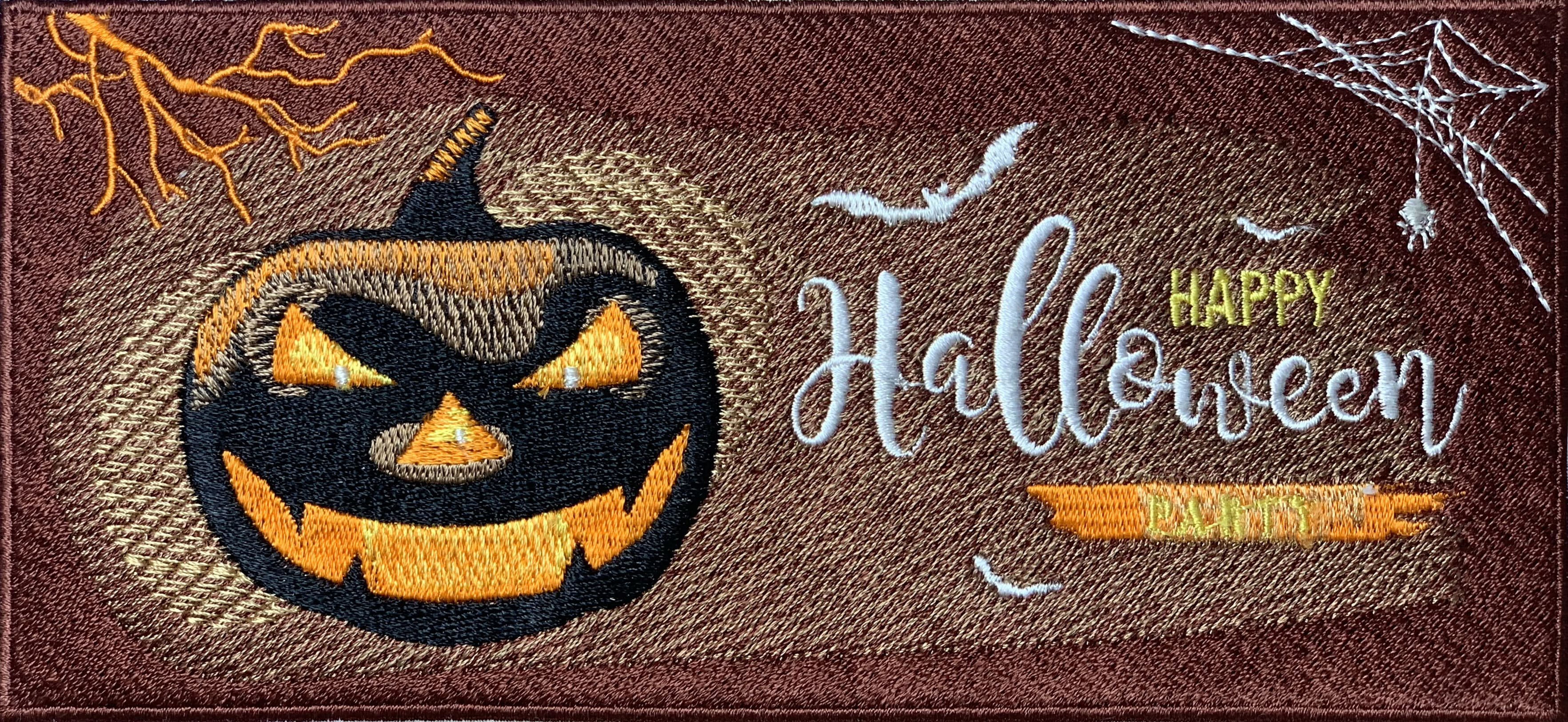 embroidery design of Halloween zombie running with a pumpkin