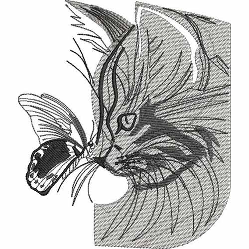 cat and butterfly skatch embroidery design