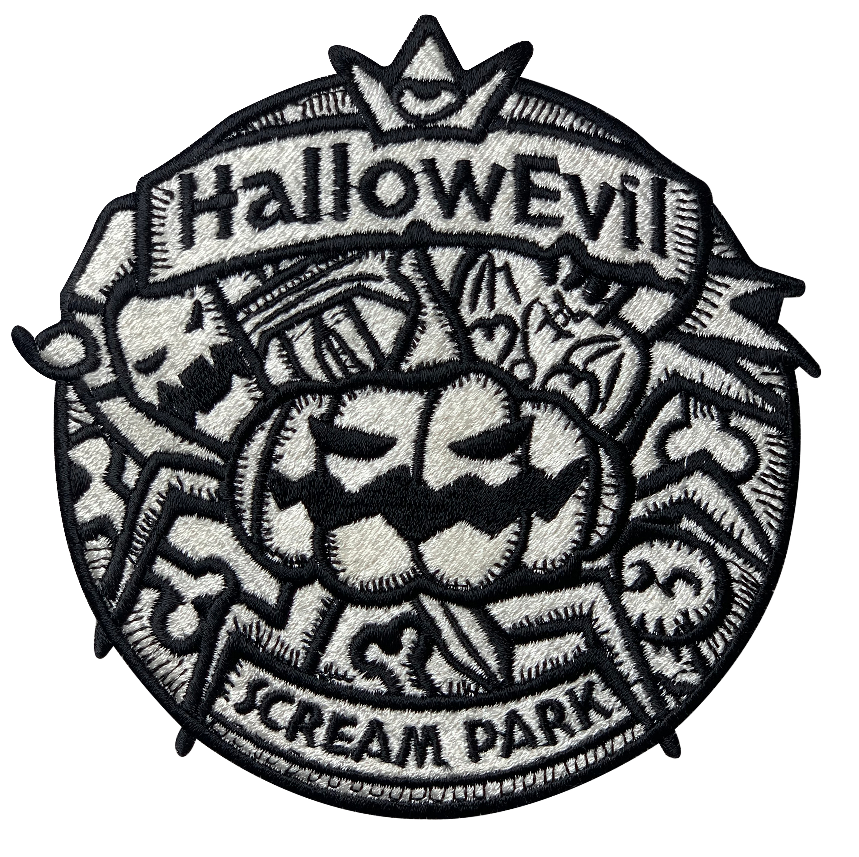 Halloween black and white embroidery patch
